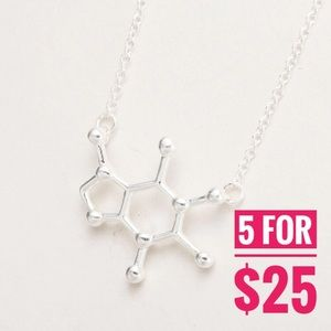 Jewelry - Silver caffeine molecule pendant necklace
